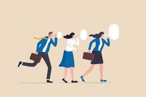 secret d'affaires, communication d'entreprise ou publicité virale, propagation de rumeurs ou concept d'informations confidentielles de potins de collègues, collègues de gens d'affaires chuchotant des secrets de potins aux membres de l'équipe. vecteur
