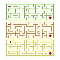labyrinthe isolé rectangulaire abstrait. il y a trois types dans l'ensemble. différentes couleurs sur fond blanc. un jeu intéressant pour les enfants. illustration vectorielle plane simple. vecteur
