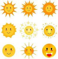 ensemble d'emoji soleil simples. ensemble de clipart soleil mignon. vecteur