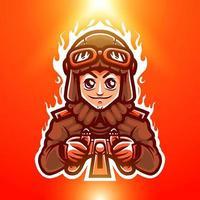 flyboy, pilote avec casque d'aviateur et logo mascotte googles pour le logo de l'équipe esport vecteur