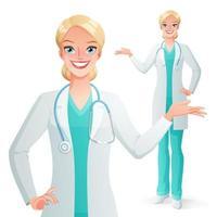 médecin souriant présentant une femme en uniforme de gommage médical vecteur