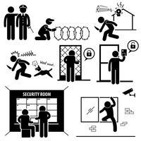 Icône de pictogramme de bonhomme système de sécurité.
