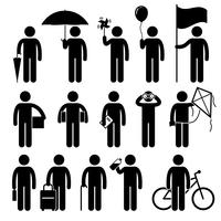 Homme avec des objets aléatoires, icônes de pictogramme de bonhomme allumette. vecteur