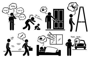 Gens de paranoïa paranoïaque trop inquiet icônes de pictogramme de bonhomme allumette
