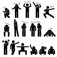 Homme personne basique langage corporel posture stick figure pictogramme icône. vecteur