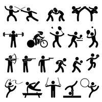 Jeu de sport en salle Jeu Athletic Set Icône Symbole Signe Pictogramme.