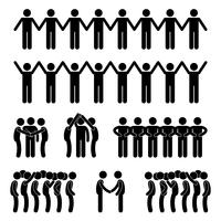 Man United Unity Community Holding icône de pictogramme de bonhomme allumette. vecteur
