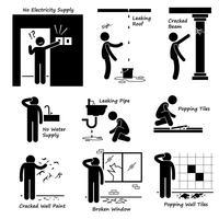 Maison cassée, vieux problèmes de bâtiment Stick Figure Icônes de pictogramme.