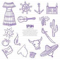 Espagne nation ou pays doodle dessinés à la main avec contour vecteur