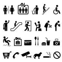 Signe public symbole du centre commercial bâtiment icône. vecteur