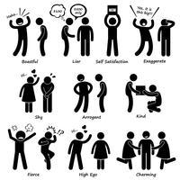 Comportement du caractère de l'homme, icônes de pictogramme de bonhomme allumette.