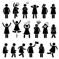 Action femme femme fille humaine pose des postures icônes de pictogramme de bonhomme allumette. vecteur