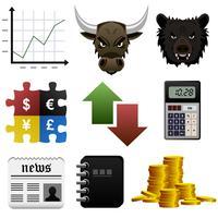 Icône de l'argent de la part de marché boursier. vecteur