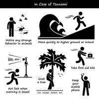 En cas de plan d'urgence tsunami, icônes de pictogramme de bonhomme allumette. vecteur