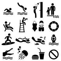 Icône de pictogramme symbole piscine homme mer plage signe. vecteur