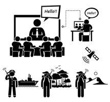 Vidéoconférence et homme utilisant des icônes de pictogramme de bonhomme allumette de téléphone satellite.