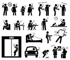 Fumeurs fumant des icônes de pictogramme de bonhomme allumette. vecteur