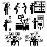Publicité Marketing Stratégie Distribution Bannière Brochure Promotion Vendeur Vendeur Télémarketing Email Internet Stick Figure Pictogramme Icône. vecteur