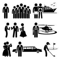 Rich People High Society Activité de mode de vie coûteuse Stick Figure Pictogramme Icône Cliparts. vecteur