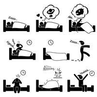Homme gens dormir rêver sexe cauchemar ronflement marche insomnie se réveiller icône de pictogramme de bonhomme allumette.