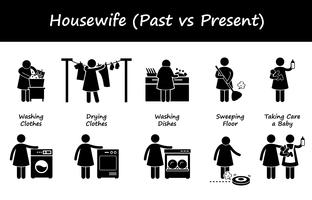 Ménagère passé versus présent icônes de pictogramme de bonhomme allumette style de vie.