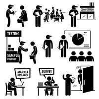 Icônes de pictogramme de bonhomme allumette recherche étude de marché des entreprises. vecteur
