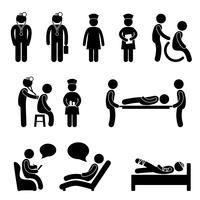 Médecin Infirmière Hôpital Psychiatre Médical Patient Patient Malade. vecteur