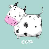 Vache mignonne dessiné à la main vecteur
