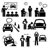 Homme obtenant un permis de voiture d'icônes de pictogramme de bonhomme allumette école de conduite.