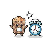 illustration de dessin animé de muffin est surpris par un réveil géant vecteur