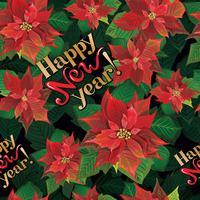 Modèle de style vintage de Noël sans soudure de vecteur avec poinsettia fleurissant et lettrage à la main