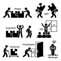 Société entreprise concept commercial stick figure pictogramme icône cliparts. vecteur