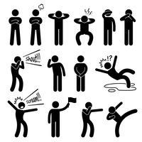 Action humaine pose des postures icônes de pictogramme de bonhomme allumette.