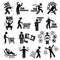 Impôt sur le revenu des contribuables Concept Stick Figure Pictogramme Icône Cliparts.