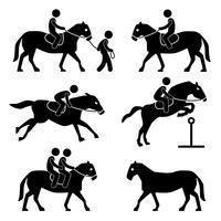 Équitation, formation jockey équestre icône symbole signe pictogramme. vecteur