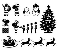 Renne de cheminée de Noël père Noël bonhomme de neige en hiver. vecteur