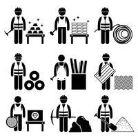 Icônes de pictogramme de bonhomme allumette métal industriel précieux. vecteur