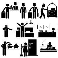 Travailleurs de l'hôtellerie et pictogrammes de services.