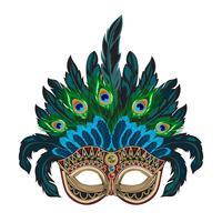 Masque de carnaval vénitien orné de vecteur bleu avec des plumes colorées