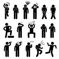 Action humaine pose des postures icônes de pictogramme de bonhomme allumette. vecteur