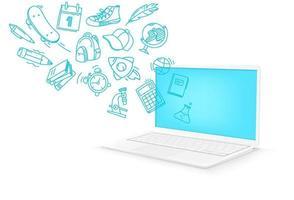 concept d'apprentissage en ligne. ordinateur portable moderne vecteur