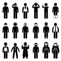 Ouvrier Construction Tenue de sécurité appropriée Uniforme d'usure chiffon icône symbole signe pictogramme. vecteur