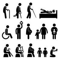 ayant besoin de priorité Vieille femme enceinte handicapée. vecteur