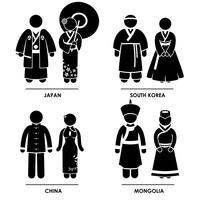 Vêtements traditionnels d'Asie orientale. vecteur