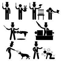 Magicien magie spectacle icône symbole signe pictogramme. vecteur