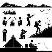 Jungle Trekking Randonnée Camping Aventure de feu de camp. vecteur