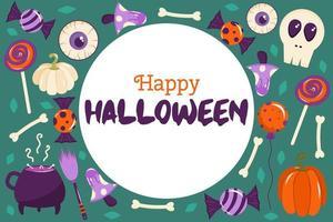 bannière d'halloween heureuse dans un cercle avec place pour le texte. il y a des citrouilles, des os, des champignons et des globes oculaires éparpillés sur le fond. illustration vectorielle pour cartes postales ou mises en page vecteur