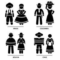 Amérique du Sud Costume Traditionnel Vêtements. vecteur