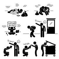 Icône de pictogramme de bonhomme allumette sans-abri famille mendiant sans emploi. vecteur