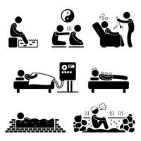 Icône de pictogramme de bonhomme allumette au traitement médical des thérapies alternatives vecteur